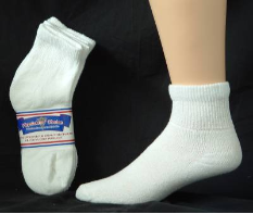 Assorted Diabetic Quarter Socks  Size 13-15   12 Pack